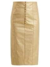 HILLIER BARTLEY Metallic-gold buttoned faux-leather pencil skirt