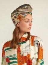 GUCCI Metallic-gold floral brocade turban hat ~ glamorous accessory