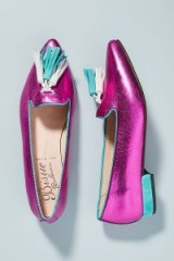 ANTHROPOLOGIE Metallic Tasselled-Leather Loafers Pink / shiny tasseled flats