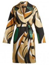 ROCHAS Metallic-jacquard belted coat ~ vintage style prints