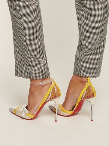 CHRISTIAN LOUBOUTIN Metripump measuring tape-embellished pumps ~ PVC trimmed courts