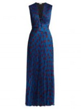 RAQUEL DINIZ Mika floral-print pleated silk dress | blue plunge front maxi