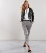 REISS MILAN CHECKED TAILORED TROUSERS BLACK/WHITE ~ stylish check print pants