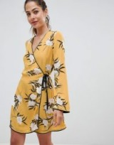 Miss Selfridge wrap tea dress with floral print in yellow | oriental inspiration