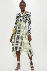 TOPSHOP Mixed Check Print Midi Skirt in Lime / clashing prints / asymmetric