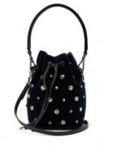 FENDI Mon Tresor crystal-embellished navy velvet bucket bag ~ green crystals ~ luxe small blue crossbody