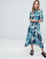 Monki Floral Print Midi Button Up Dress in Japan flower | oriental inspired prints