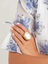 SYLVIA TOLEDANO Mother-of-pearl and brass ring ~ statement accessory