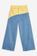 MOTO Colour Block Cropped Wide Leg Jeans   colourblock denim