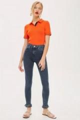 MOTO Dusty Blue Fringe Hem Jeans | fringed skinnies