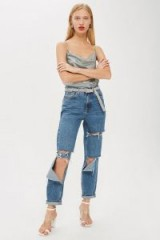 MOTO Mid Blue Ripped Mom Jeans | destroyed