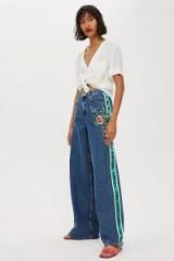 MOTO Rose Side Stripe Wide Leg Jeans in Mid Stone