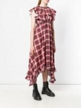 MSGM check empire-line ruffled dress / red checks