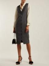 ALTUZARRA Naomi single-breasted grey wool pinstripe dress ~ tailored clothing