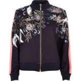 River Island Navy oriental print tracksuit jacket | blue floral sports fashion