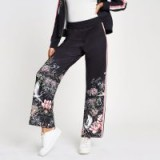 River Island Navy oriental print wide leg tracksuit bottom | sports fashion