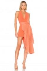NBD OMRI MINI DRESS in Poppy Orange | plunge front | draped tie waist sash
