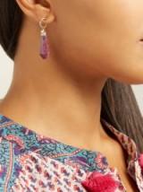 JADE JAGGER Never Ending ruby diamond drop earrings ~ pink sculptural stone drops