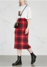 NO.21 Red plaid flannel pencil skirt / tartan prints