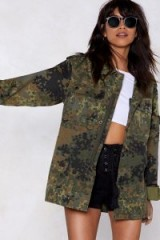 NASTY GAL Now You See Me Camo Jacket Khaki – green camouflage prints