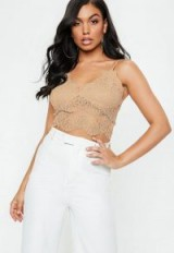 MISSGUIDED nude corded lace cami ~ sheer strappy crop