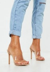 MISSGUIDED nude pointed clear mules – summer heels