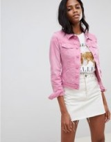 Oasis cropped denim jacket in pink – casual summer style