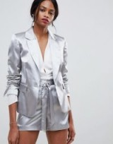 Oasis occasion tailored shimmer blazer co-ord in Silver | high shine fashion