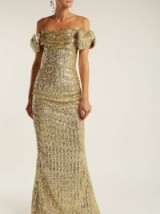 DOLCE & GABBANA Off-the-shoulder gold sequinned gown ~ statement piece ~ glamorous event wear