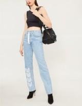 OFF-WHITE C/O VIRGIL ABLOH Logo-embroidered high-rise straight-leg jeans – logo printed denim