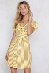 Nasty Gal On a Call Striped Dress in Mustard | yellow summer front tie frock