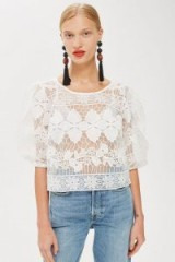 Topshop Organza Lace Blouse | sheer balloon sleeve tops