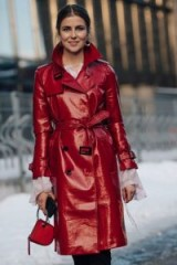 Red high shine belted trench