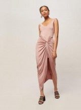 Miss Selfridge Pale Pink Twist Front Maxi Dress – cool summer fashion