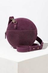Anthropologie Pamla Snake-Effect Suede Crossbody Bag in Plum | purple circular bags