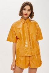 TOPSHOP Paper Bowling Shirt by Boutique / yellow high shine shirts