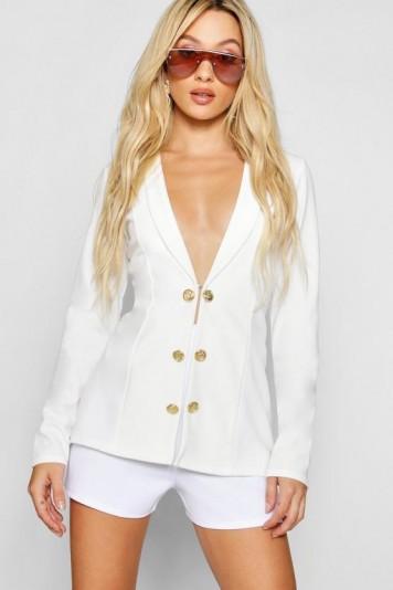 boohoo x Paris Hilton Button Detail Blazer White – celebrity style fashion