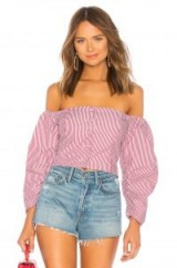 Petersyn HARLOW TOP in Claret | red striped off shoulder blouse