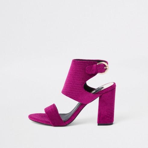 RIVER ISLAND Pink block heel sandals – chunky textured heels