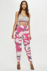 TOPSHOP Pink Camouflage Trousers / girly camo pants