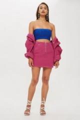 Topshop Pink Corduroy Zip-Up Skirt | cord mini