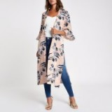 River Island Pink floral jacquard flute sleeve duster coat | long oriental inspired jacket
