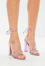 MISSGUIDED pink metallic lace up block heeled sandals ~ strappy summer shoes