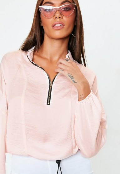MISSGUIDED pink shellsuit half zip bomber blouse – sports luxe style