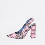 River Island Pink tartan block heel sling back court shoes – chunky checked slingbacks