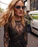 Olivia Palermo…black lace, large sunnies and beach waves