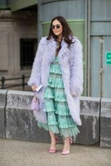 Pretty pastels…fluffy lilac coat, green ruffled lace dress & pink satin heels