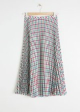 & other stories Pleated Midi Skirt Green / check print pleats