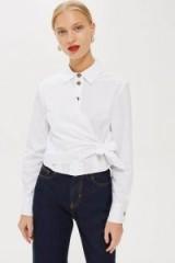 Topshop White Poplin Wrap Shirt | asymmetric front