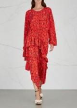 PREEN LINE Sinead red printed midi dress – asymmetric hemline – florals
